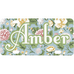 Vintage Floral Mini / Bicycle License Plate (4 Holes) (Personalized)