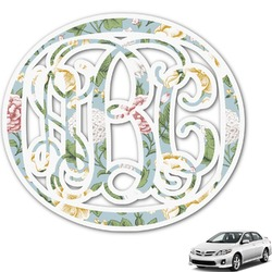 Vintage Floral Monogram Car Decal (Personalized)