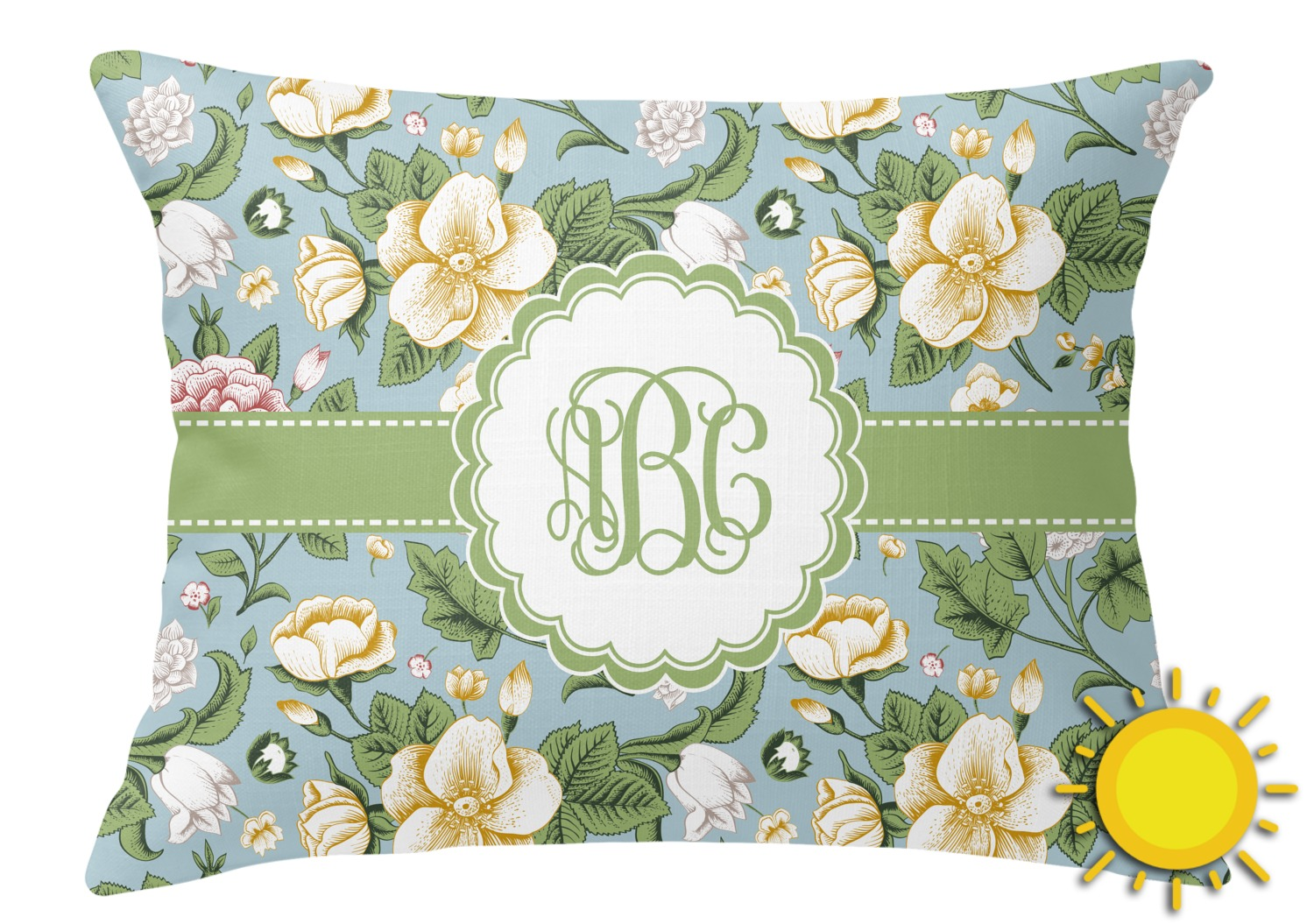 Vintage Looking Throw Pillows : Vintage Floral Outdoor Throw Pillow (Rectangular) (Personalized) - YouCustomizeIt