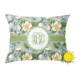 Vintage Floral Outdoor Throw Pillow (Rectangular) (Personalized)