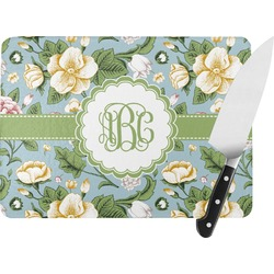 Vintage Floral Rectangular Glass Cutting Board (Personalized)