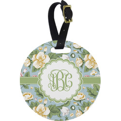Vintage Floral Round Luggage Tag (Personalized)