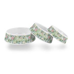 Vintage Floral Plastic Dog Bowl (Personalized)