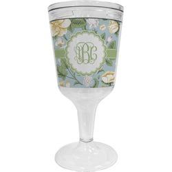 Vintage Floral Wine Tumbler - 11 oz Plastic (Personalized)