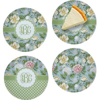 "Vintage Floral Set of 4 Glass Appetizer / Dessert Plate 8"" (Personalized)"