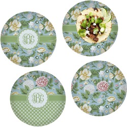Vintage Floral Set of 4 Lunch / Dinner Plates (Glass) (Personalized)