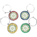 Vintage Floral Wine Charms (Set of 4) (Personalized)