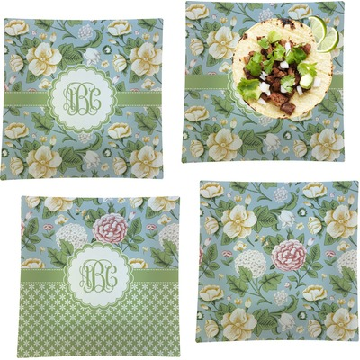 """Vintage Floral Set of 4 Glass Square Lunch / Dinner Plate 9.5"""" (Personalized)"""