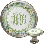 Vintage Floral Cabinet Knob (Silver) (Personalized)