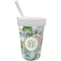 Vintage Floral Sippy Cup with Straw (Personalized)