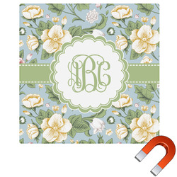 Vintage Floral Square Car Magnet (Personalized)
