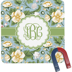 Vintage Floral Square Fridge Magnet (Personalized)