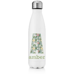 Vintage Floral Tapered Water Bottle - 17 oz. - Stainless Steel (Personalized)