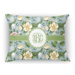 Vintage Floral Rectangular Throw Pillow Case (Personalized)