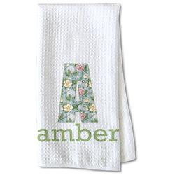 Vintage Floral Waffle Weave Kitchen Towel - Partial Print (Personalized)
