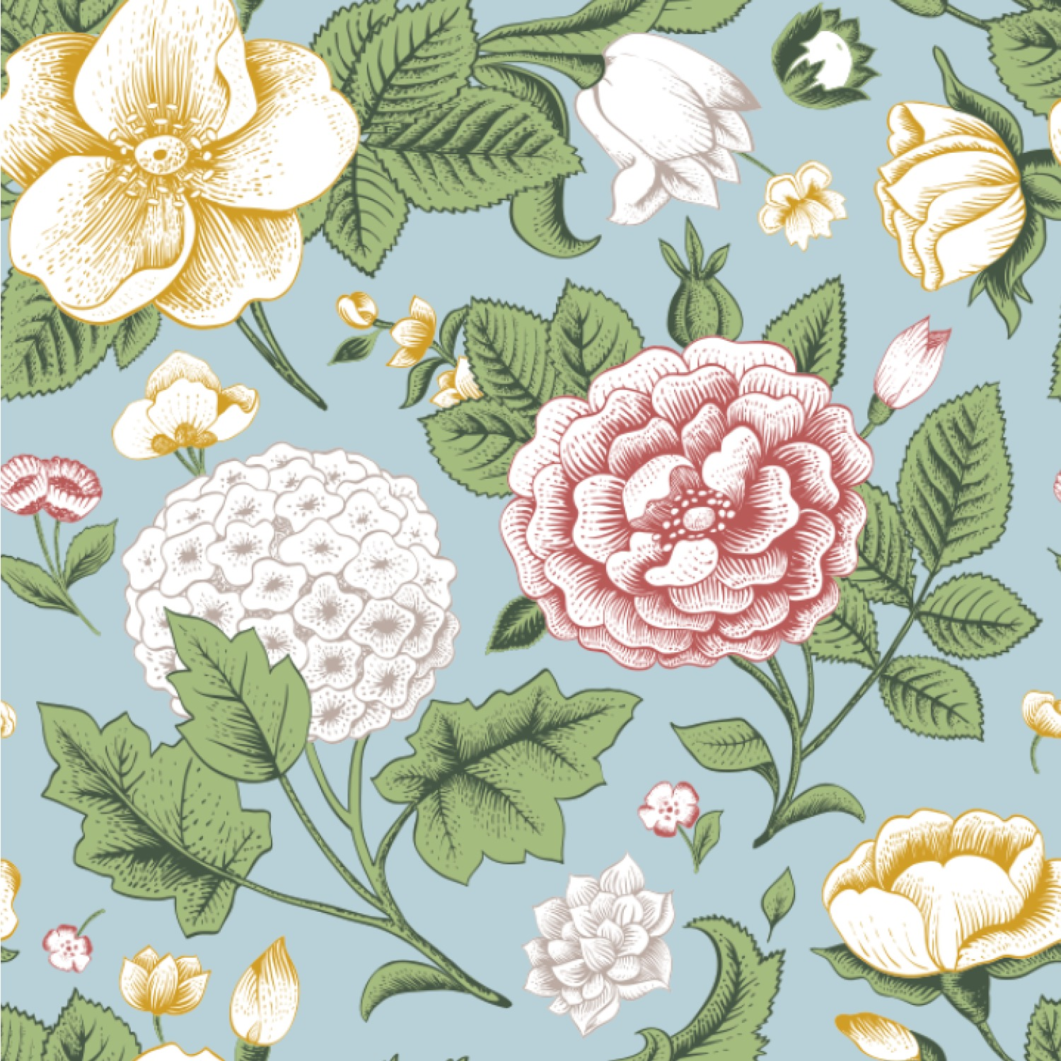 Vintage Floral Wallpaper & Surface Covering - YouCustomizeIt