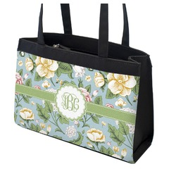 Vintage Floral Zippered Everyday Tote (Personalized)