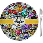 "Graffiti Glass Appetizer / Dessert Plates 8"" - Single or Set (Personalized)"