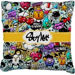Graffiti Faux-Linen Throw Pillow (Personalized)