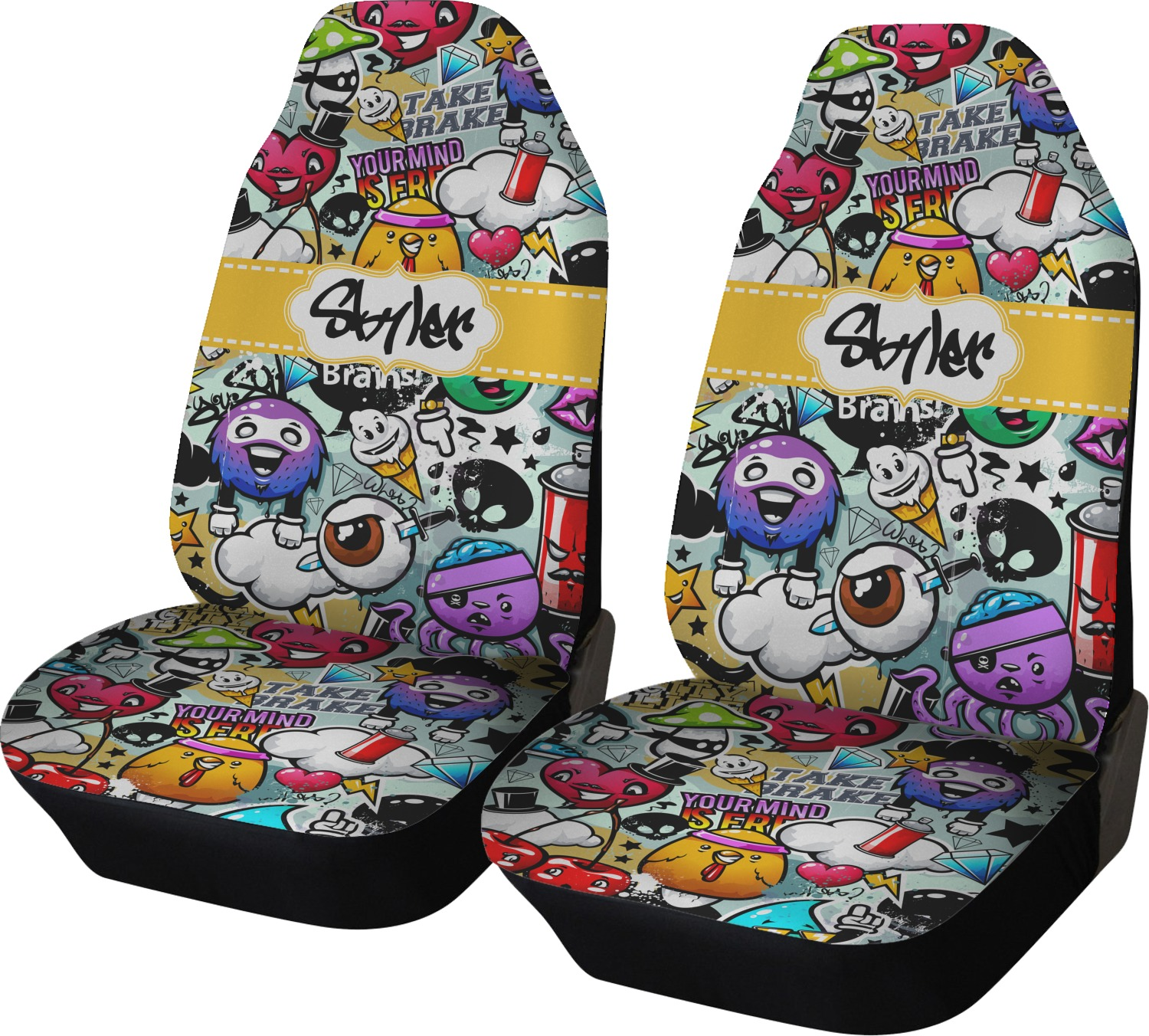 Graffiti Car Seat Covers Set Of Two Personalized