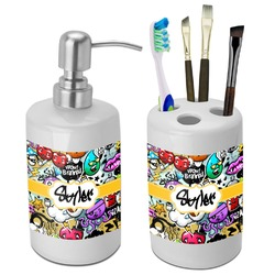 Graffiti Bathroom Accessories Set (Ceramic) (Personalized)