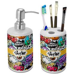 Graffiti Ceramic Bathroom Accessories Set (Personalized)