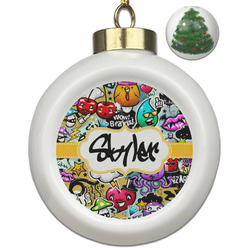 Graffiti Ceramic Ball Ornament - Christmas Tree (Personalized)