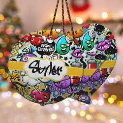 Graffiti Ceramic Ornament - Double Sided w/ Name or Text