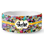 Graffiti Ceramic Dog Bowl (Personalized)