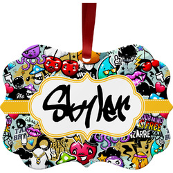 Graffiti Metal Frame Ornament - Double Sided w/ Name or Text