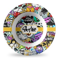 Graffiti Plastic Bowl - Microwave Safe - Composite Polymer (Personalized)