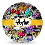 Graffiti Microwave Safe Plastic Plate - Composite Polymer (Personalized)