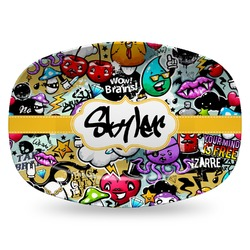 Graffiti Plastic Platter - Microwave & Oven Safe Composite Polymer (Personalized)