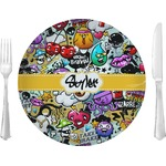 """Graffiti Glass Lunch / Dinner Plates 10"""" - Single or Set (Personalized)"""