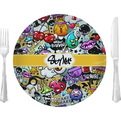 "Graffiti Glass Lunch / Dinner Plates 10"" - Single or Set (Personalized)"