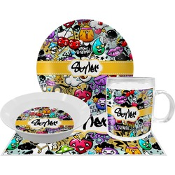 Graffiti Dinner Set - 4 Pc (Personalized)