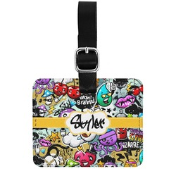 Graffiti Genuine Leather Rectangular  Luggage Tag (Personalized)