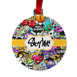 Graffiti Metal Ornaments - Double Sided w/ Name or Text