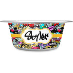 Graffiti Stainless Steel Dog Bowl (Personalized)
