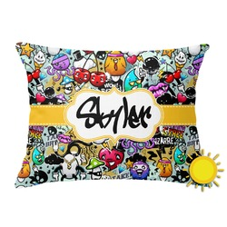 Graffiti Outdoor Throw Pillow (Rectangular) (Personalized)