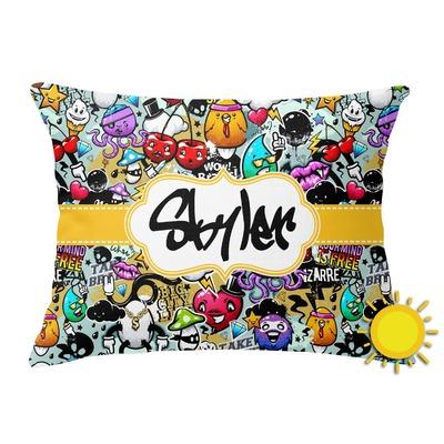 Graffiti Outdoor Throw Pillow (Rectangular) (Personalized)