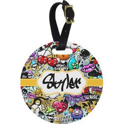 Graffiti Round Luggage Tag (Personalized)