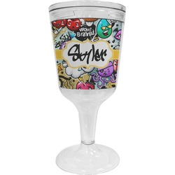 Graffiti Wine Tumbler - 11 oz Plastic (Personalized)