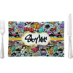 Graffiti Glass Rectangular Lunch / Dinner Plate - Single or Set (Personalized)