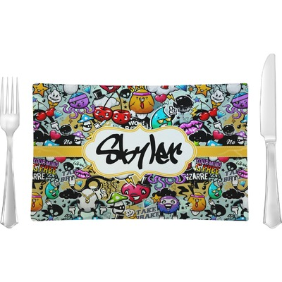 Graffiti Glass Rectangular Lunch / Dinner Plate (Personalized)