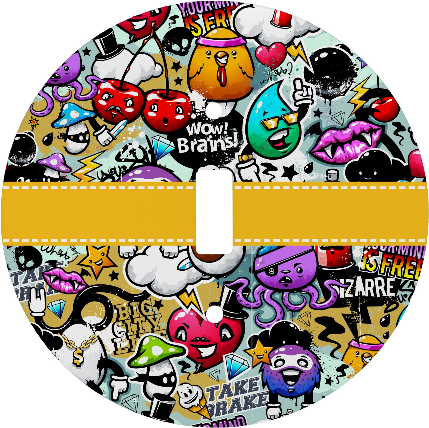 Graffiti Round Light Switch Cover (Personalized) - YouCustomizeIt