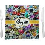 Graffiti Glass Square Lunch / Dinner Plate 9.5