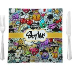 """Graffiti Glass Square Lunch / Dinner Plate 9.5"""" - Single or Set of 4 (Personalized)"""