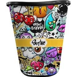 Graffiti Waste Basket - Double Sided (Black) (Personalized)