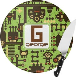 Industrial Robot 1 Round Glass Cutting Board - Small (Personalized)